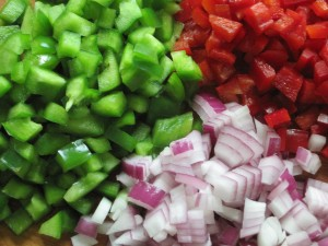 Chopped green pepper, red pepper and red onion